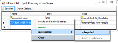 TX Spell .NET in a DataGridView