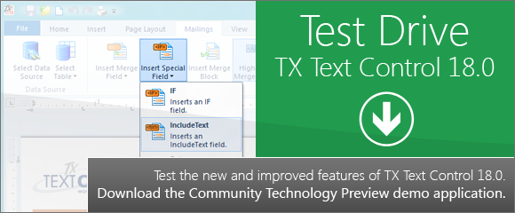 Test drive TX Text Control 18.0: CTP demo released