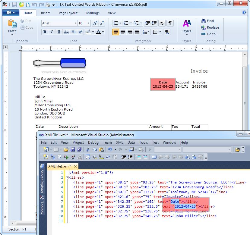 XML mode in TX Text Control PDF reflow
