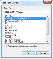 Date field options