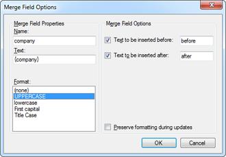 Merge field options