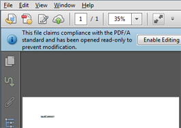 PDF/A in Acrobat Reader created in TX Text Control