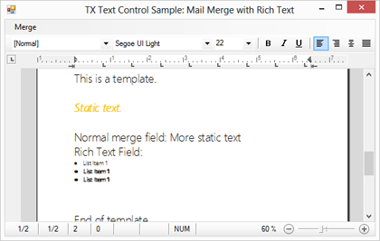 Reporting: Merge formatted text into MergeFields using HTML