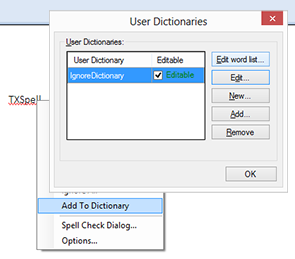 TX Spell .NET: Ignore word list using user dictionaries