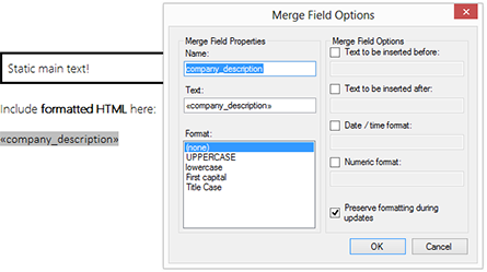 Merge formatted HTML into merge fields