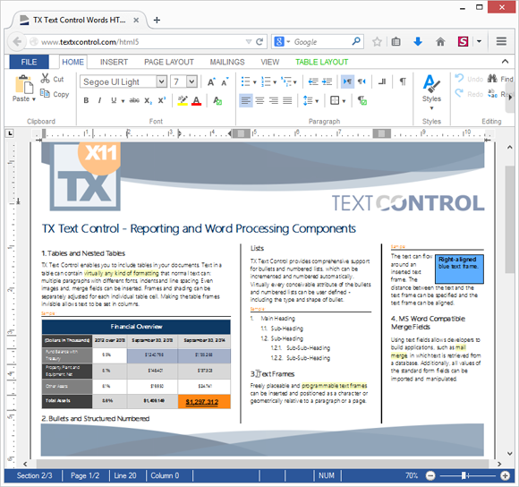 TX Text Control X12 Preview