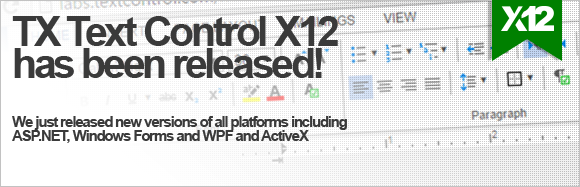 TX Text Control X12 and TX Spell 6.0 released