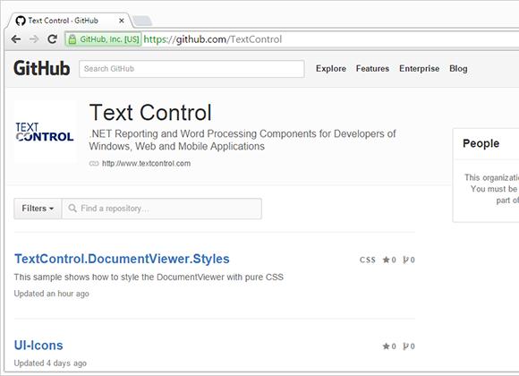 GitHub account TextControl