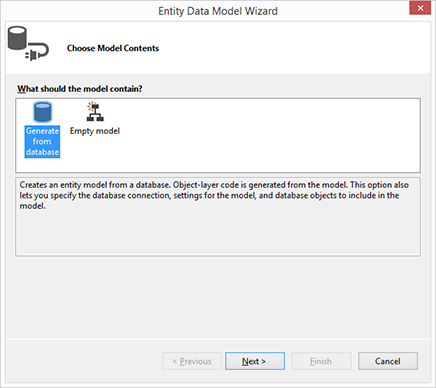 Create model with the EF Designer