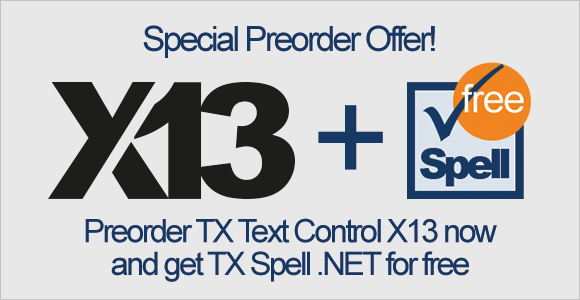 Pre-order X13 now and get TX Spell .NET for free