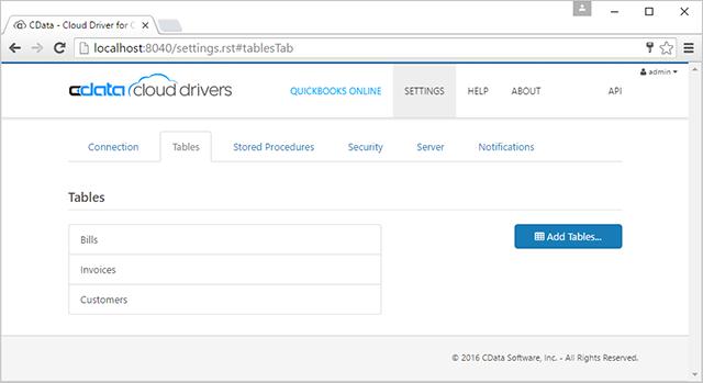 CData Cloud Drivers settings