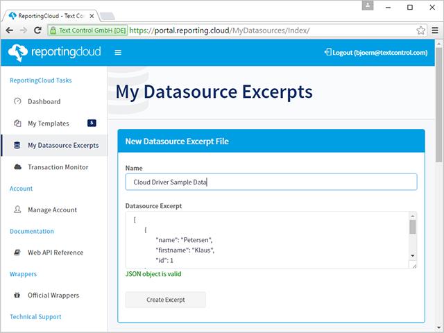 Datasource excerpt file