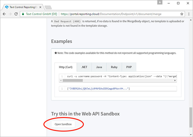 Web API Test Sandbox released on ReportingCloud Portal