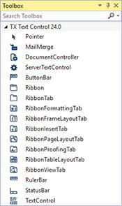 Visual Studio toolbox TX Text Control X14
