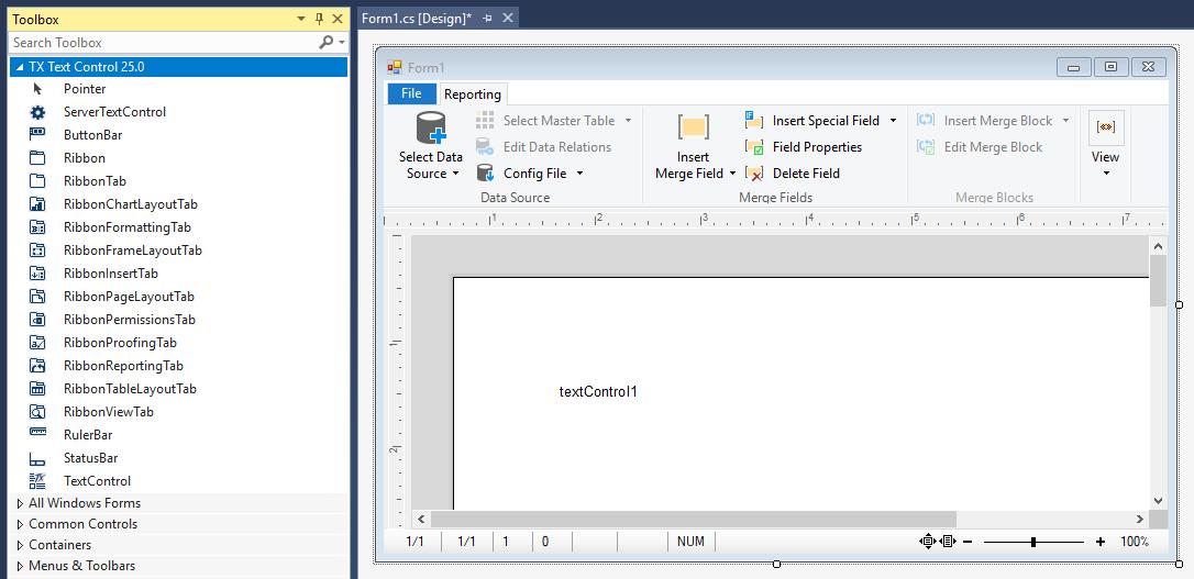 TX Text Control in Visual Studio