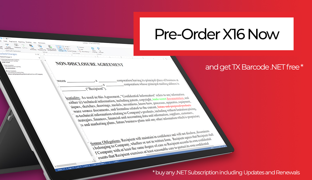 Pre-Order TX Text Control X16