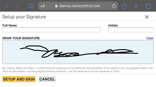 Signatures on iPhone