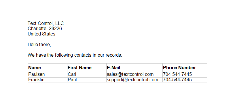 TX Text Control sample template