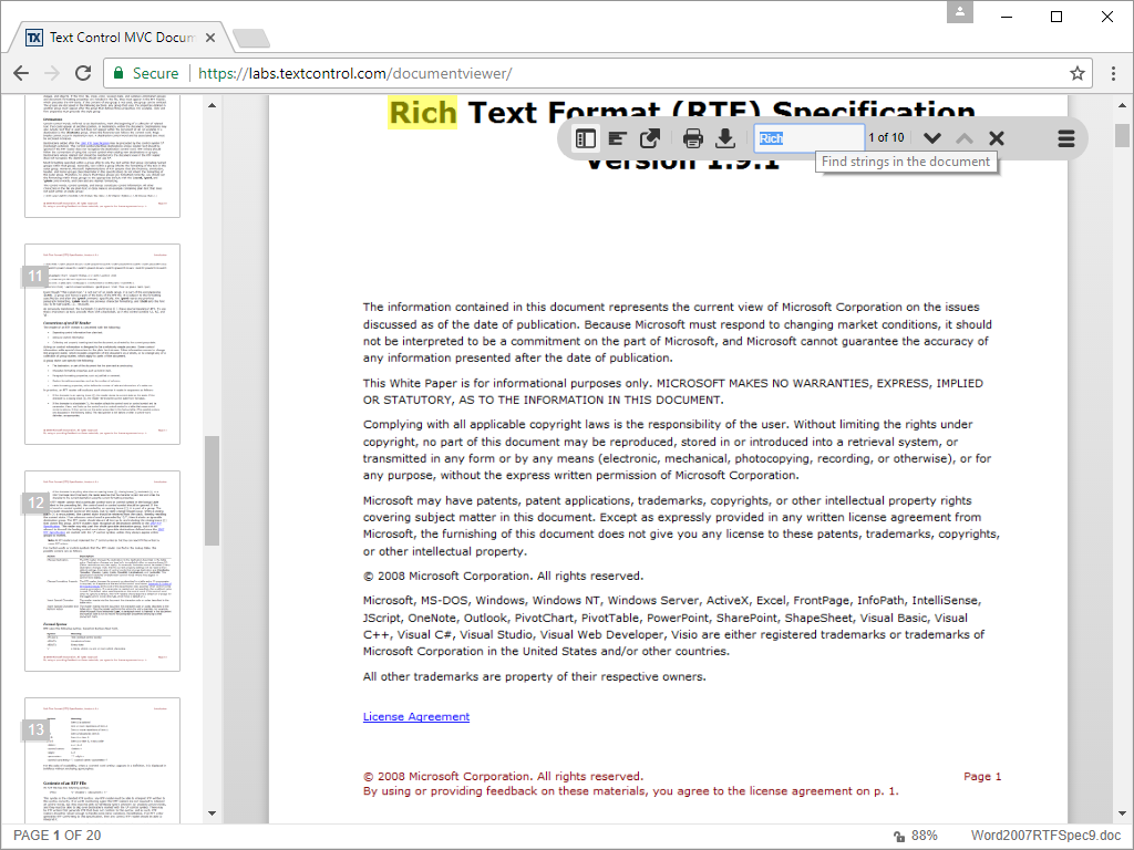 ASP.NET DocumentViewer