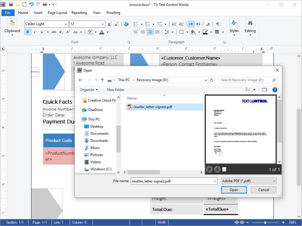 Import Adobe PDF Documents