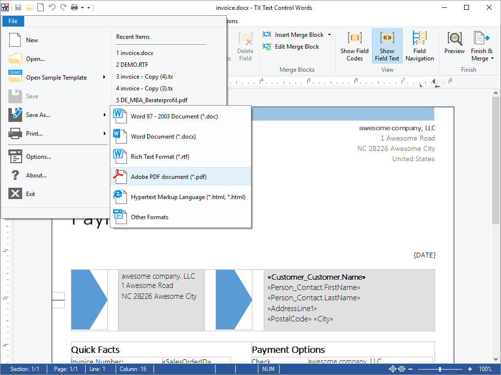 MS Word Compatible Document Automation