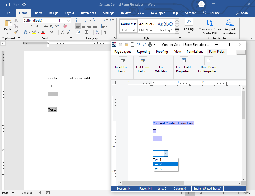 MS Word Form Field Import and Export