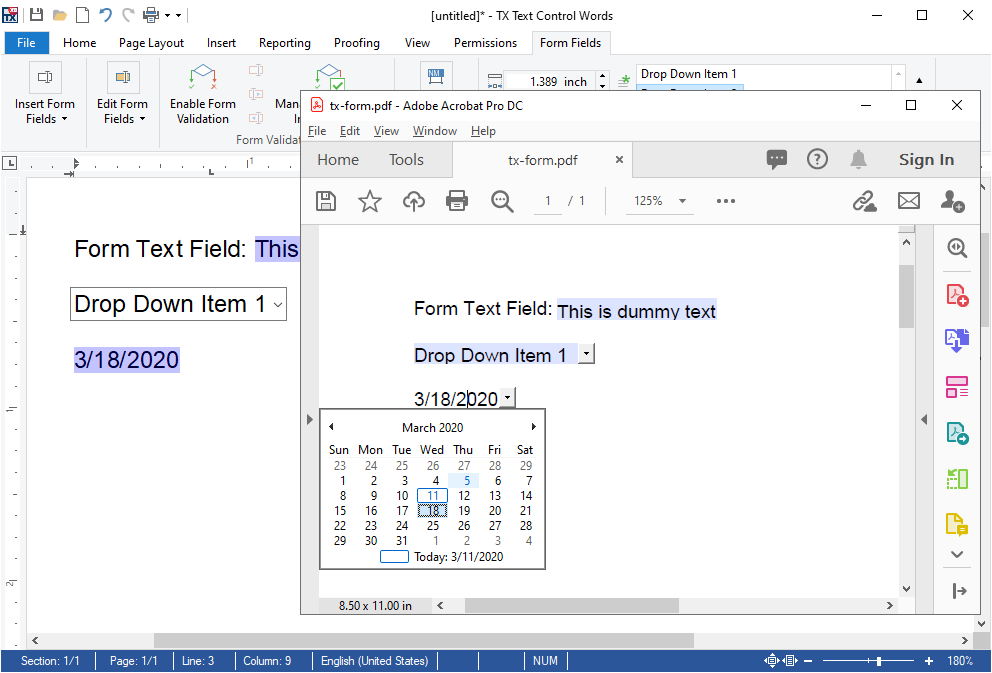 Form Field Export to Adobe PDF using AcroForms