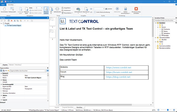 TX Text Control and List & Label