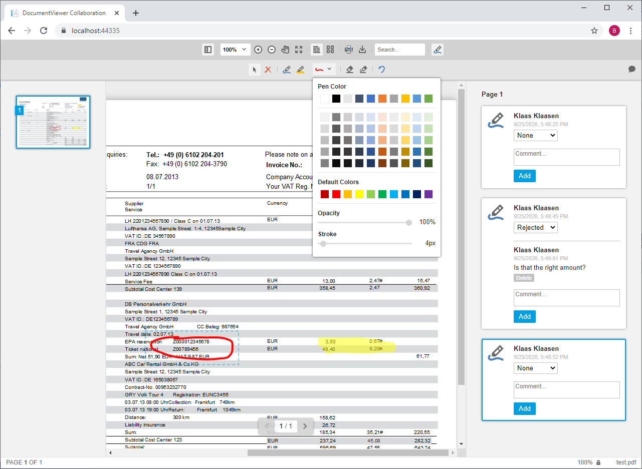 DocumentViewer Annotations
