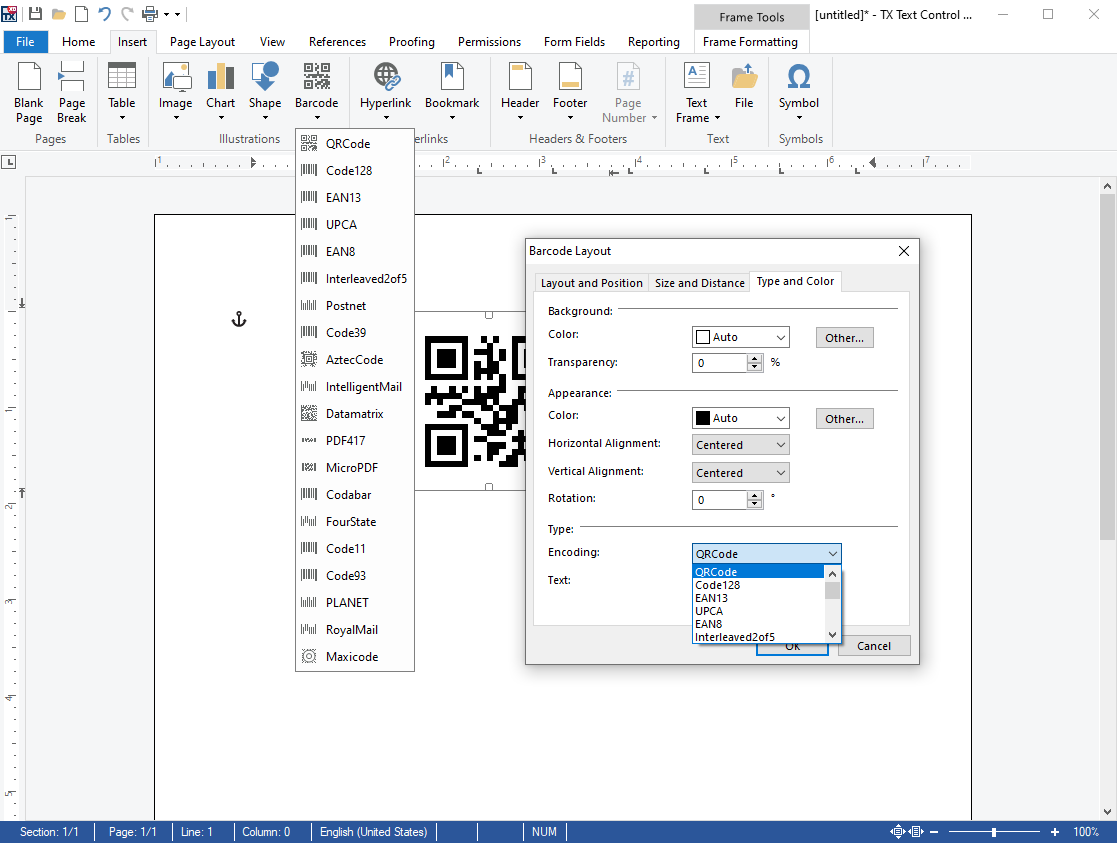 Barcode Support in TX Text Control
