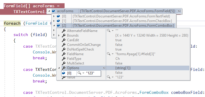 Importing AcroForms fields