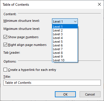 TOC in TX Text Control