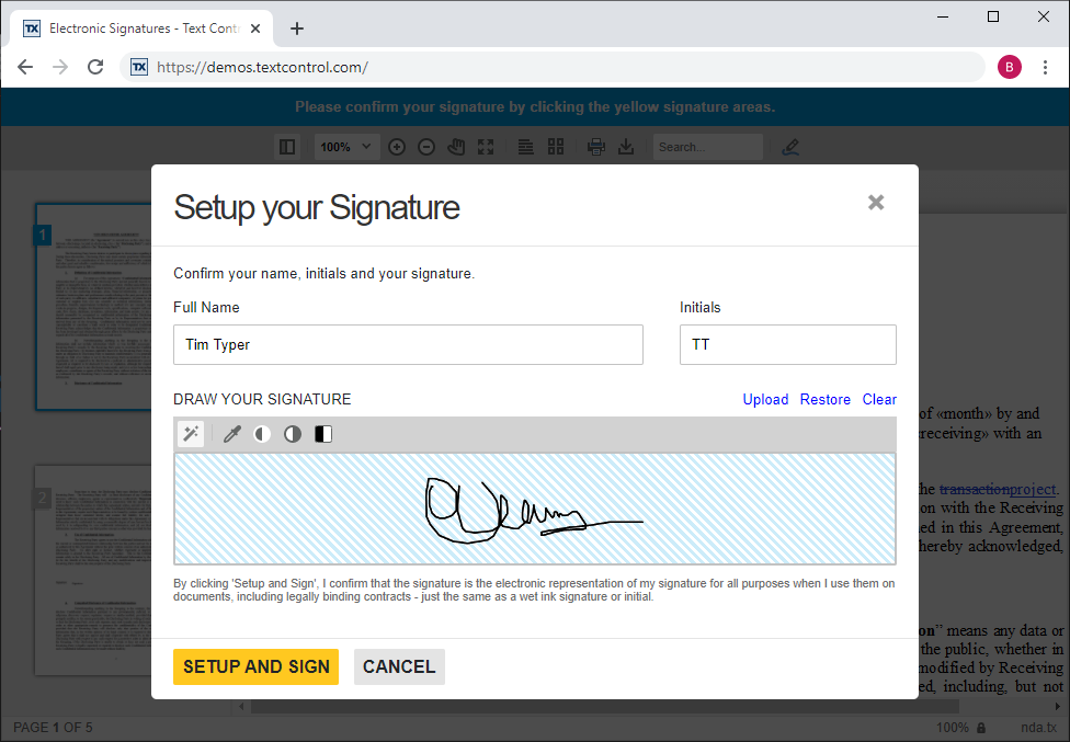 Electronic signatures in TX Text Control