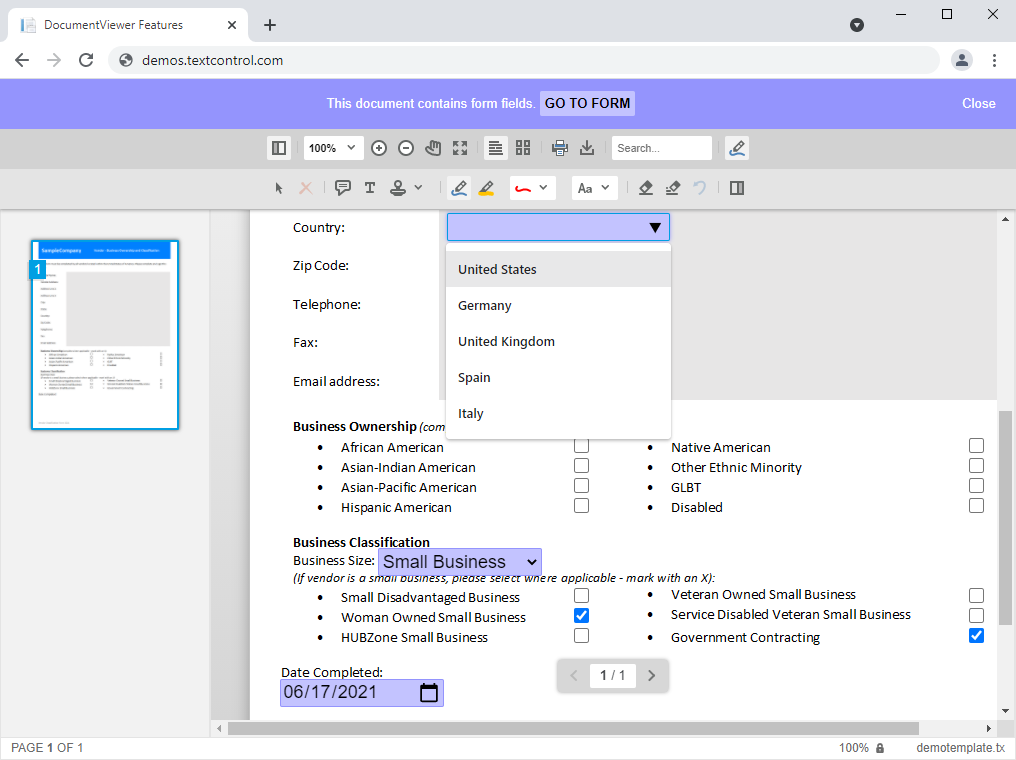 Form Filling in the DocumentViewer