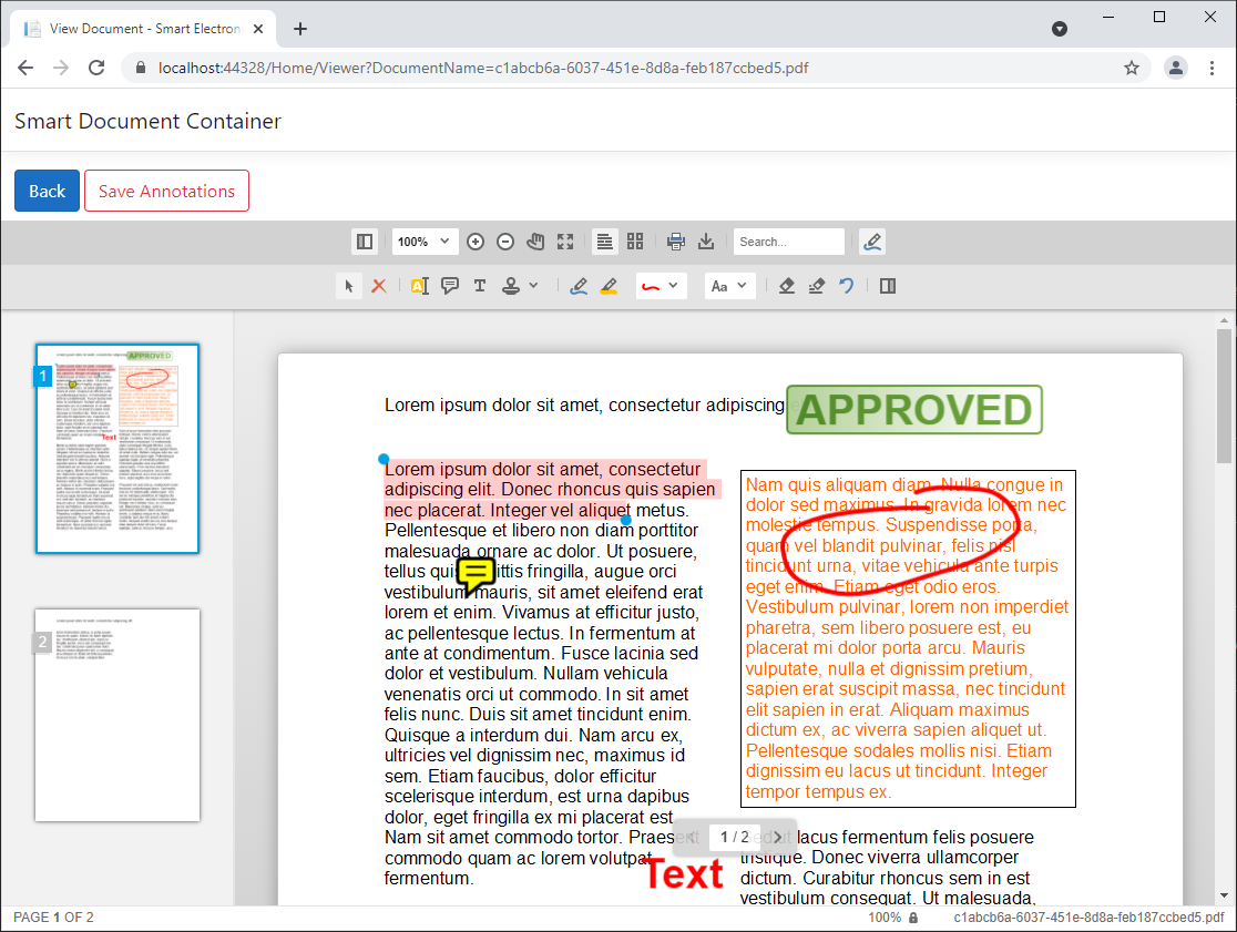Embedded document layers