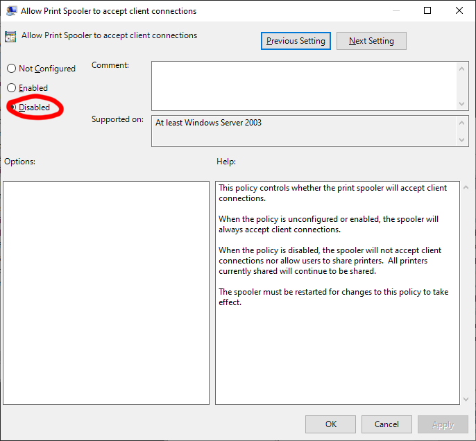 Disable the Print Spooler service