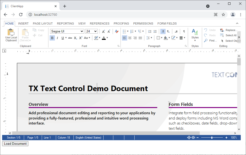 Loading documents into TX Text Control