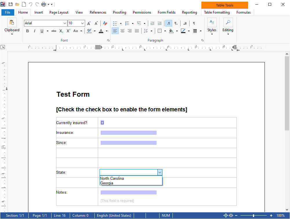 Template with form fields