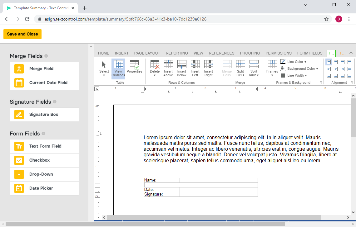 Creating documents with TX Text Control